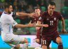 Latvija iesit savos vārtos un minimāli zaudē Slovēnijā