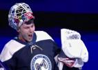 """Video: Merzļikins atvaira visus 34 metienus NHL spēlē, """"sausā"""" sērija ir 137:51"""