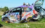 Foto: Belokoņa ekipāža Talsu rallijā iznīcina automašīnu