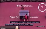 Video: Galda tenisa izspēle ilgst vairāk nekā 10 minūtes