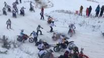 Masveida sadursme skijoringā Ķegumā
