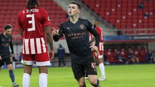 """""""City"""" minimāla uzvara pret """"Olympiacos"""" un vieta Čempionu līgas """"play-off"""""""