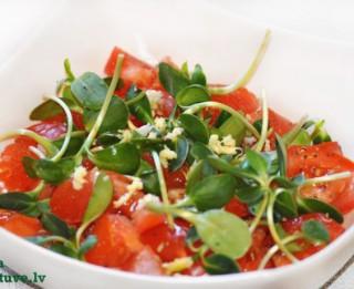 Tomātu un saulespuķu dīgstu salāti