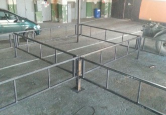 Foto: Tukumā tiek būvēts olimpiskais boksa rings