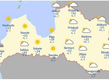 Laika prognoze šodienai, 25. maijam