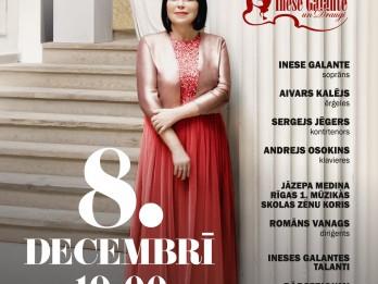 """Zināma Ineses Galantes koncerta """"Ziemassvētku prelūdija"""" programma"""