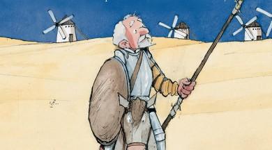 """Apgāds """"Mansards"""" izdod Migela de Servantesa Saavedras romāna """"Atjautīgais idalgo Lamančas dons Kihots"""" pārstāstu bērniem"""