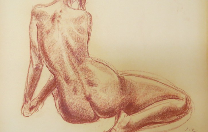 Liepājas muzejā skatāma Jāņa Zuntaka aktu zīmējumu izstāde