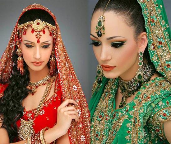Kāzas indiešu stilā. Indiešu etniskā kāzu kleita un aksesuāri