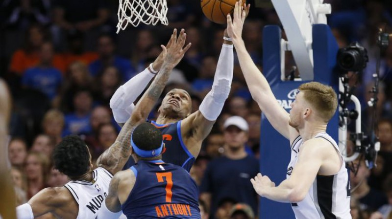 "Dāvis Bertāns pret ""Thunder"" Foto: AP/Scanpix"
