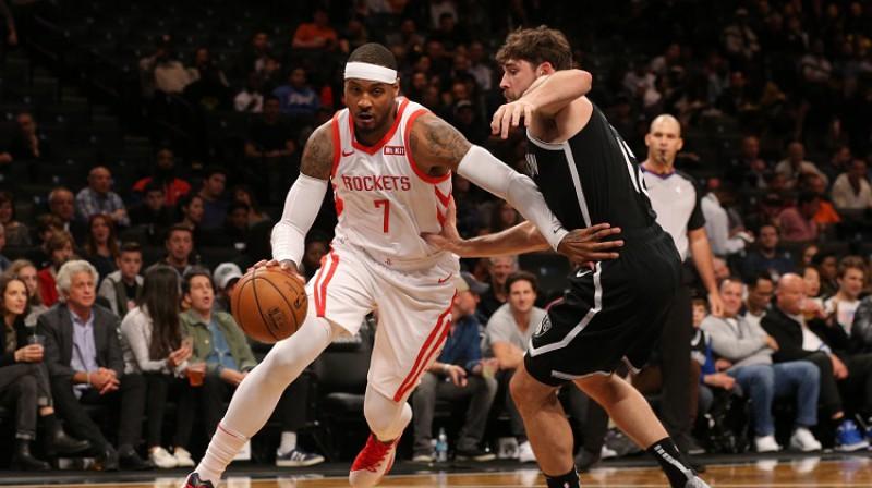 """Karmelo Entonijs aizvadīja tikai 10 spēles """"Rockets"""" kreklā. Foto: RS/Scanpix"""