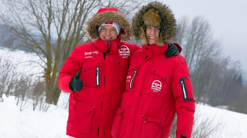 Krišjānis Caune un Mārtiņš Sesks. Foto: LMT Autosporta Akadēmija