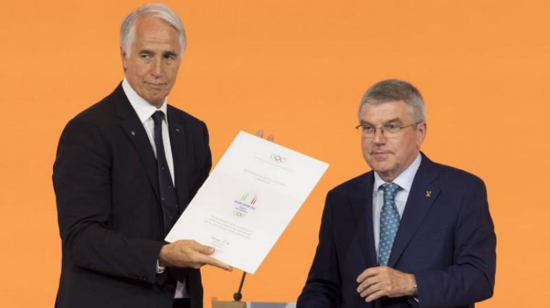 Itālijas kandidatūras komitejas vadītājs un SOK prezidents Tomass Bahs. Foto: EPA/Scanpix