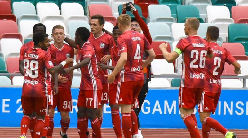 """Liepājas"" futbolisti Minskā. Foto: Aleksandrs Šičko/Pressball.by"