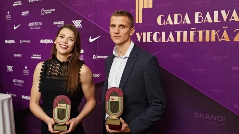 Sindija Bukša un Jānis Leitis. Foto: Guntis Bērziņš, athletics.lv