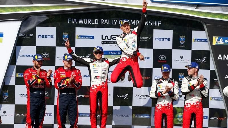Ots Tanaks svin uzvaru Somijas WRC posmā. Foto: Toyota Gazoo Racing