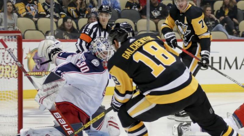 Elvis Merzļikins pret Pitsburgu. Foto: AP/Scanpix