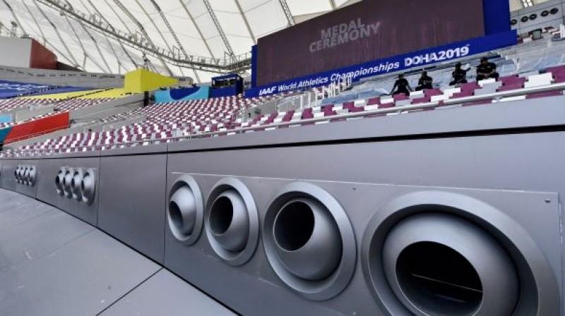 """Gaisa kondicionēšanas sistēma """"Khalifa"""" stadionā. Foto: AFP/Scanpix"""
