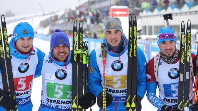 Krievijas biatlona stafete pagājušajā sezonā. Foto: EPA/Scanpix