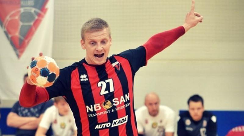 """Rīgas """"Celtnieks"""" handbolists Aļaksejs Haisa. Foto: synottiphandball.lv"""