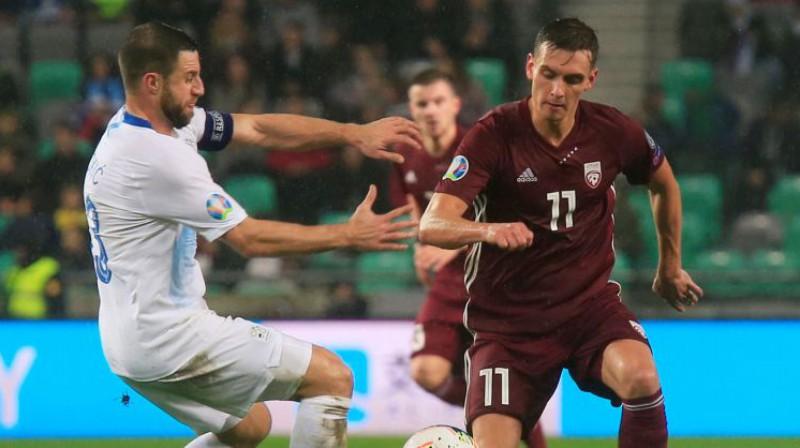 Vladislavs Fjodorovs spēlē pret Slovēniju. Foto: Reuters/Scanpix