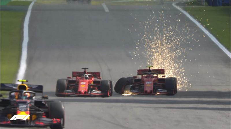 """Ferrari"" formulas pēc sadursmes. Foto: F1"