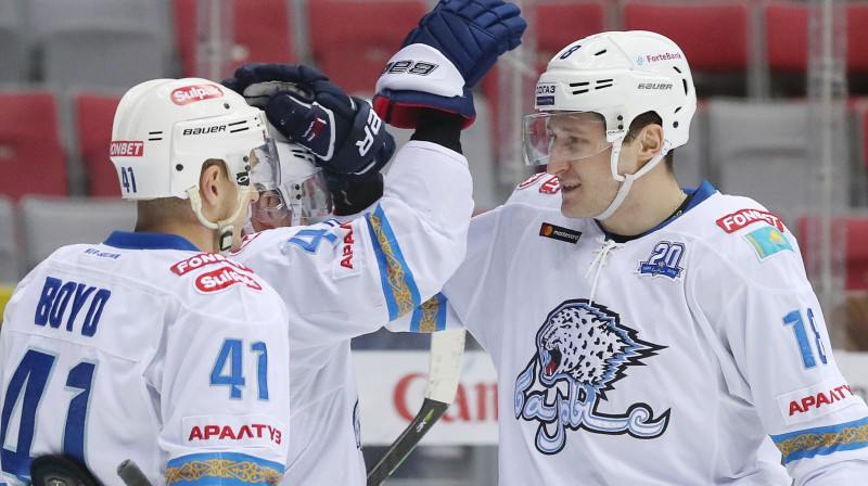 """Nursultanas """"Barys"""" hokejisti. Foto: Dmitry Feoktistov/TASS/Scanpix"""