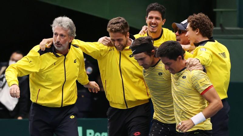 Ekvadoras tenisa izlase negaidīti iekļuva Deivisa kausa finālturnīrā. Foto: EPA/Scanpix