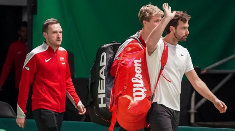 Deniss Pavlovs, Kārlis Ozoliņš un Ernests Gulbis. Foto: Latvijas Tenisa savienība