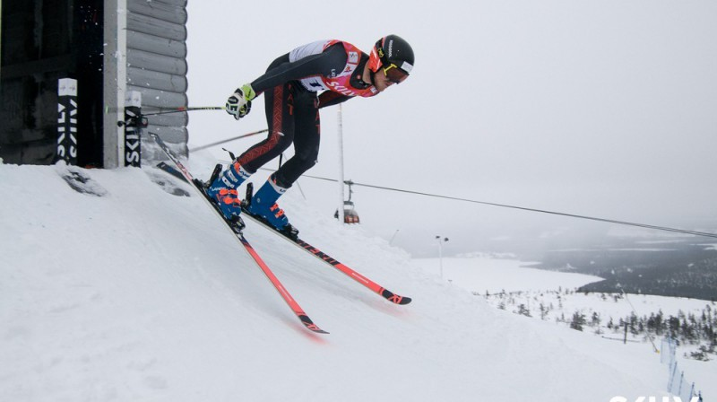 Miks Zvejnieks milzu slaloma startā Foto: E.Lukšo/Ski.lv