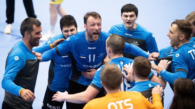 Igaunijas handbola izlases prieki. Foto: Tairo Lutter/Postimees/Scanpix