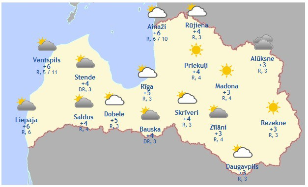Laika prognoze šodienai - 14. novembrim