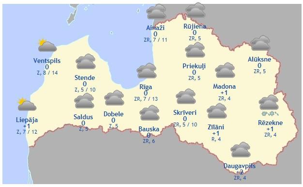 Laika prognoze šodienai, 14. martam