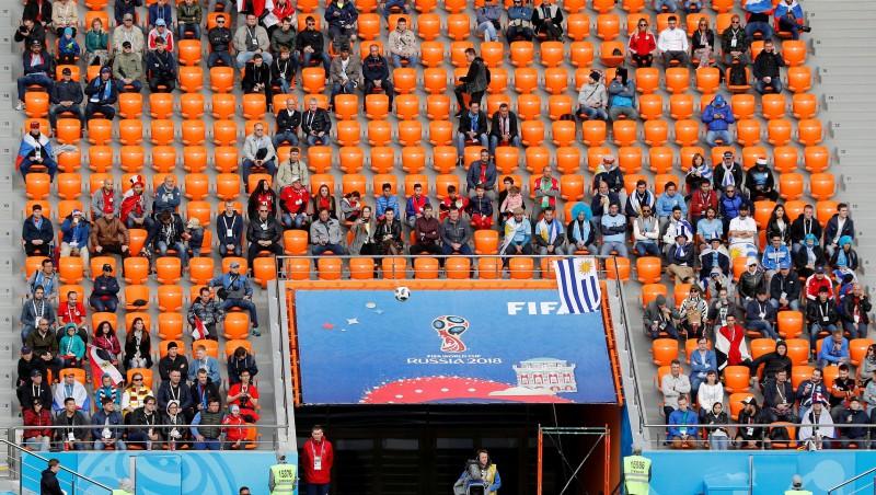 FIFA izmeklēs, kāpēc Urugvajas un Ēģiptes mačā bija tik tukšas tribīnes