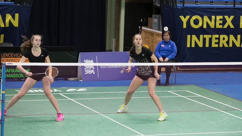 Badmintonistes Lenceviča/Romanova zaudē Tallinas turnīra dubultspēļu 1/8 finālā