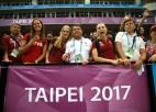 Video: Latvijas sprinteres līksmo par basketbolistu panākumiem Taivānā