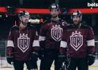 """Video: Rīgas """"Dinamo"""" hokejisti jokojas reklāmas rullīšu filmēšanā"""