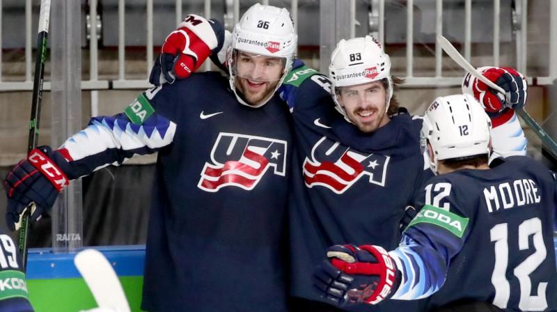ASV izlases hokejisti svin vārtu guvumu. Foto: Natalia Fedosenko/TASS/Scanpix