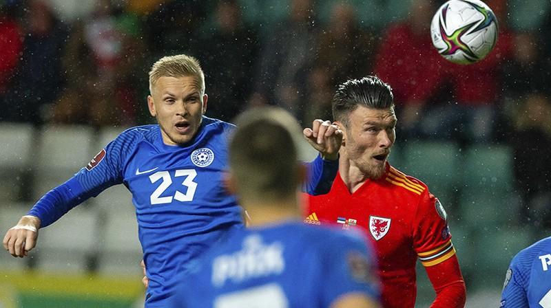 Kīfers Mūrs guva Velsas uzvaras vārtus pār Igauniju. Foto: AP/Scanpix