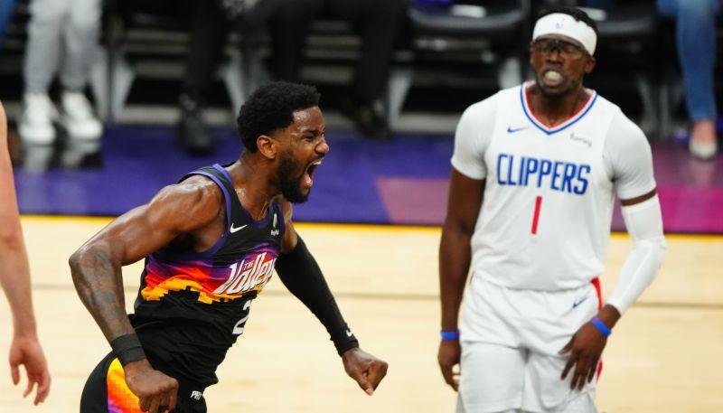 "Bukeram salauzts deguns, Eitons ar danku izrauj ""Suns"" uzvaru pret ""Clippers"""